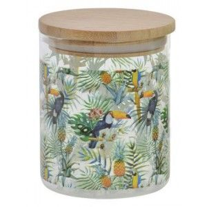 A Glass jar with a Lid of Bamboo, colorful. Design Flamingo/Toucan 700ML, Tropical Style, (10X2,5 CM).-Hogarymas-