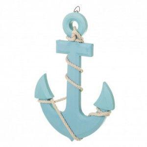 Ancla Azul figura decorativa de pared, Original. Ideal para colocar en el Dormitorio/Salón. 23X1,50X33 CM.-Hogarymas-