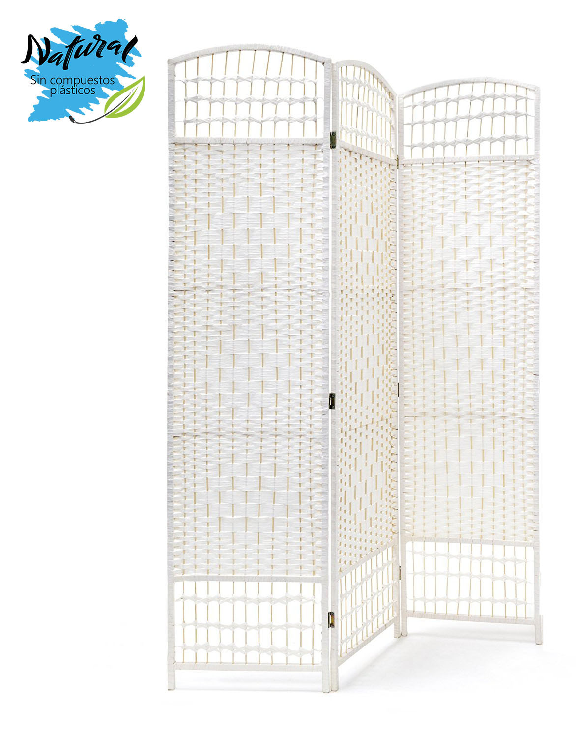 Folding screen White Natural Bamboo for living Room/Bedroom, STAINLESS steel legs. Functional design - Home and More