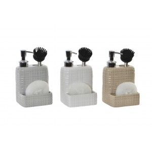 Dispenser of Soap in the Kitchen of Dolomite, with support for Sponge/Loofah, and Brush. Modern design - Home and More
