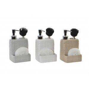 Dosificador de Jabón para Cocina de Dolomite, con soporte para Esponja/Estropajo y para Cepillo. Diseño Moderno - Hogar y Más