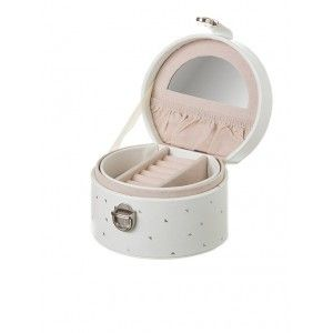 Jeweler of imitation leather, Pink and White with Printing Silver. Original/Stylish 11,8X10,5X7,8 cm-Hogarymas-