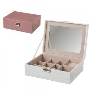 Joyero de Polipiel, color Rosa y Blanco con Impresión Plateada. Original/Estiloso 24,3X18,3X8,70 cm.-Hogarymas-