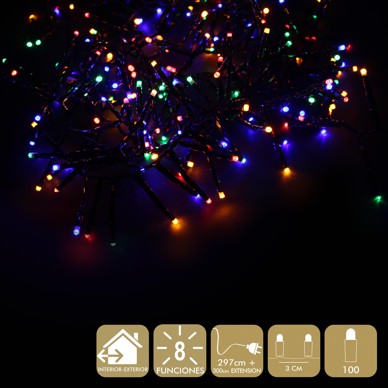 Boże Narodzenie światła Wielokolorowe 100 Led 8 Funkcji Do Wewnątrz Lub Na Zewnątrz Oświetlenie Domuboże