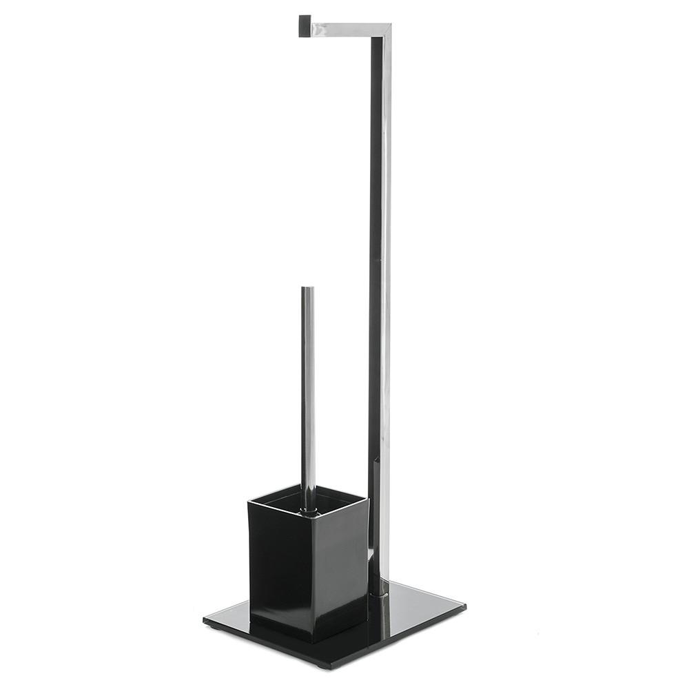 Roll holder and escobillero chrome metal/black glass (22x18x71)