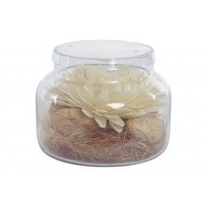 Ambientador de Flor Seca Blanca, en envase de Cristal con aroma a Alpino. Diseño Floral, con estilo Natural - Hogar y Más