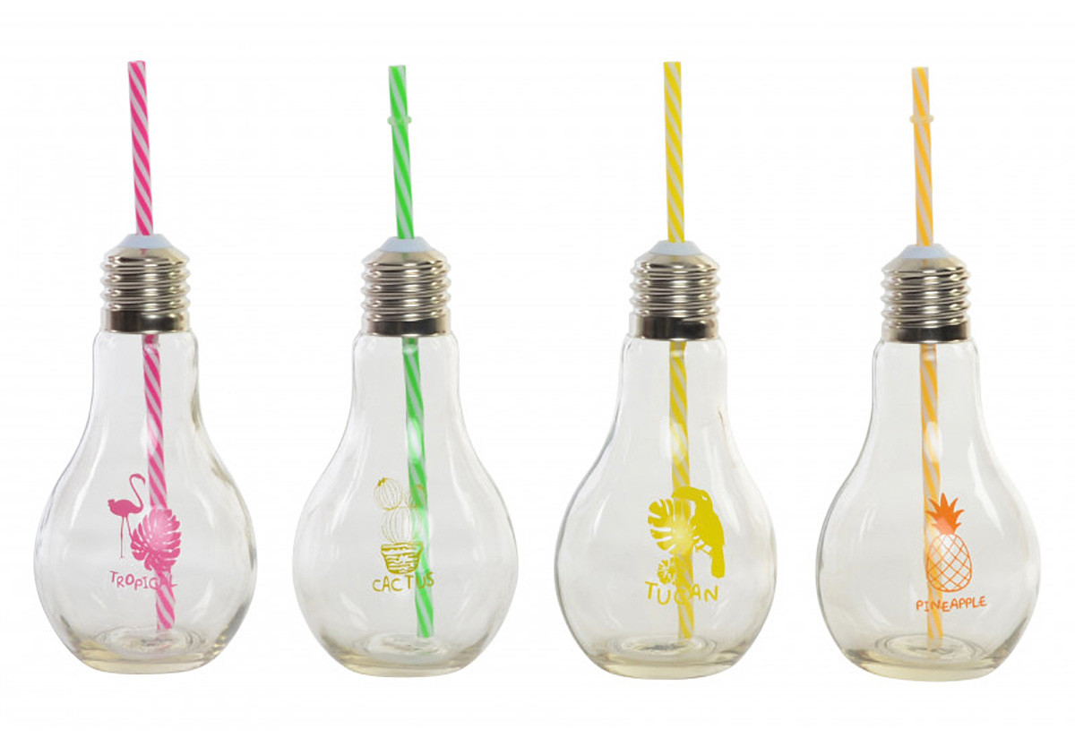 Home and More - Glass portable transparent glass with straw design with original shape of bulb Tropic