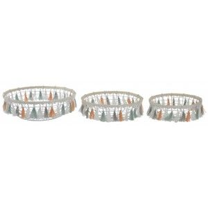 Cesta de Almacenaje Decorativa Circular, de Metal y Madera, con Flecos de Colores. Diseño de Étnico/Boho. Set de 3 - Hogar y Más