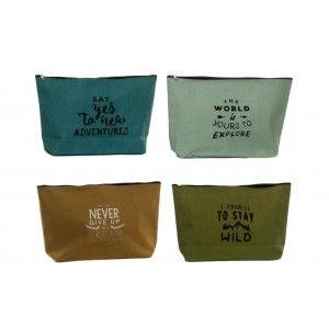 Bag with Sentence Motivating, for Bathroom accessories/Makeup. Design Original and Adventurous(20cm X 8cm X 33cm) - Home and