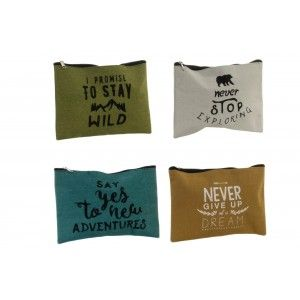 Bag with Phrase Motivating for Bathroom accessories/Makeup. Design Original and Adventurous (20.5 cm X 15.5 cm) - Home and More