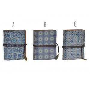 Libreta de Bolsillo/Tarjetero con Anillas y cierre de Cuerda. Diseño de Azulejos con estilo Mediterráneo. 40 hojas - Hogar y Más