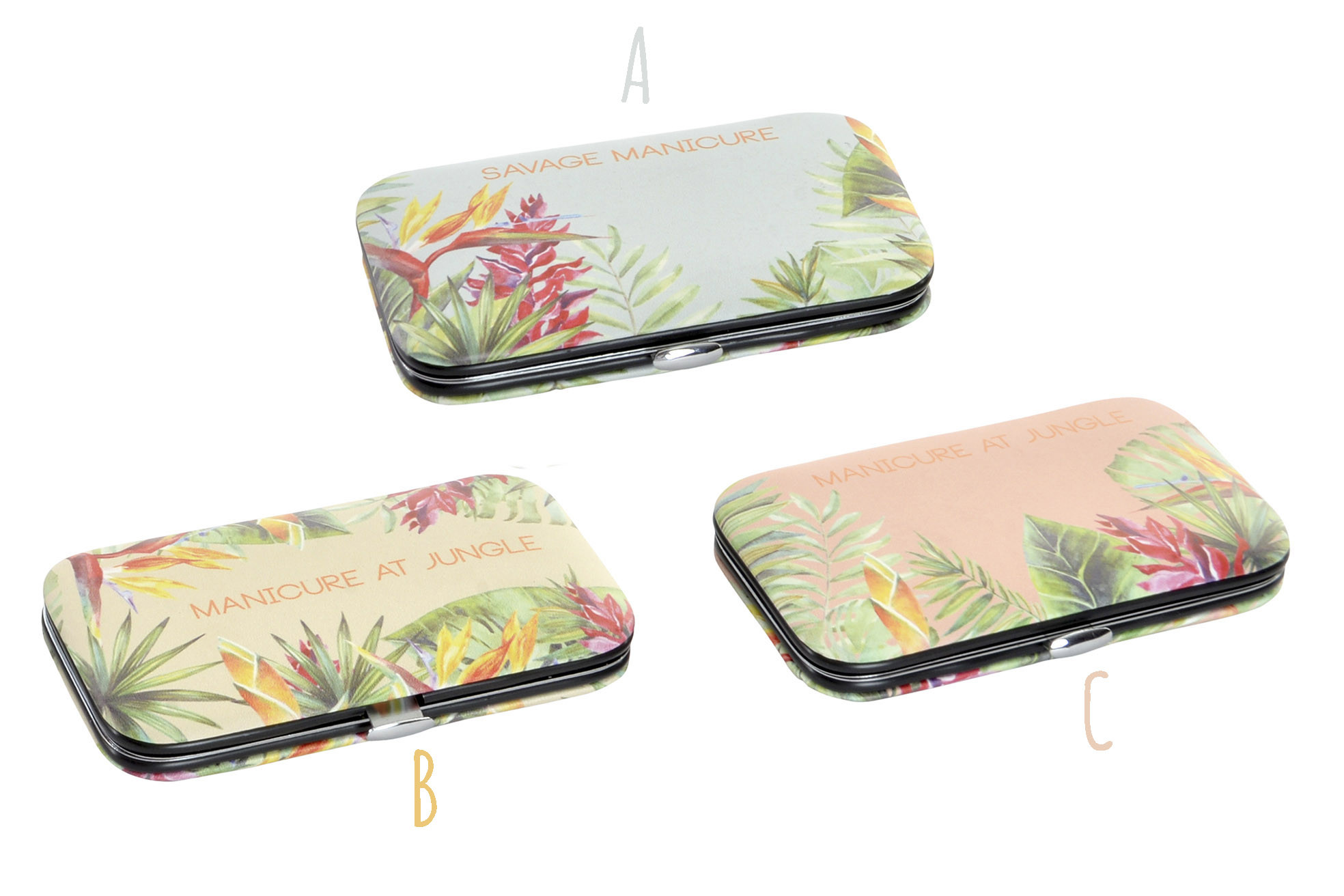 Set/Kit Manicure 5 piece set with Case, Stainless. Design of Jungle, with a Tropical flair (10,8cmX6,5cmX2cm) - Home and More