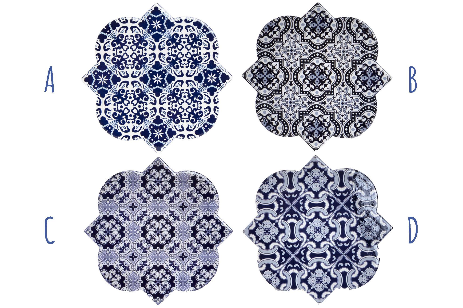 Salvamantel Individual, realizado en Dolomite, con forma Abstracta. Diseño de Azulejos, con estilo Mediterráneo - Hogar y Más