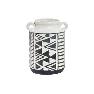 Vase/Vase, White and Black made in Stoneware with Handles. Ikat pattern with Ethnic style (15.5 cm X 19.5 cm X 13.5 cm) - Home