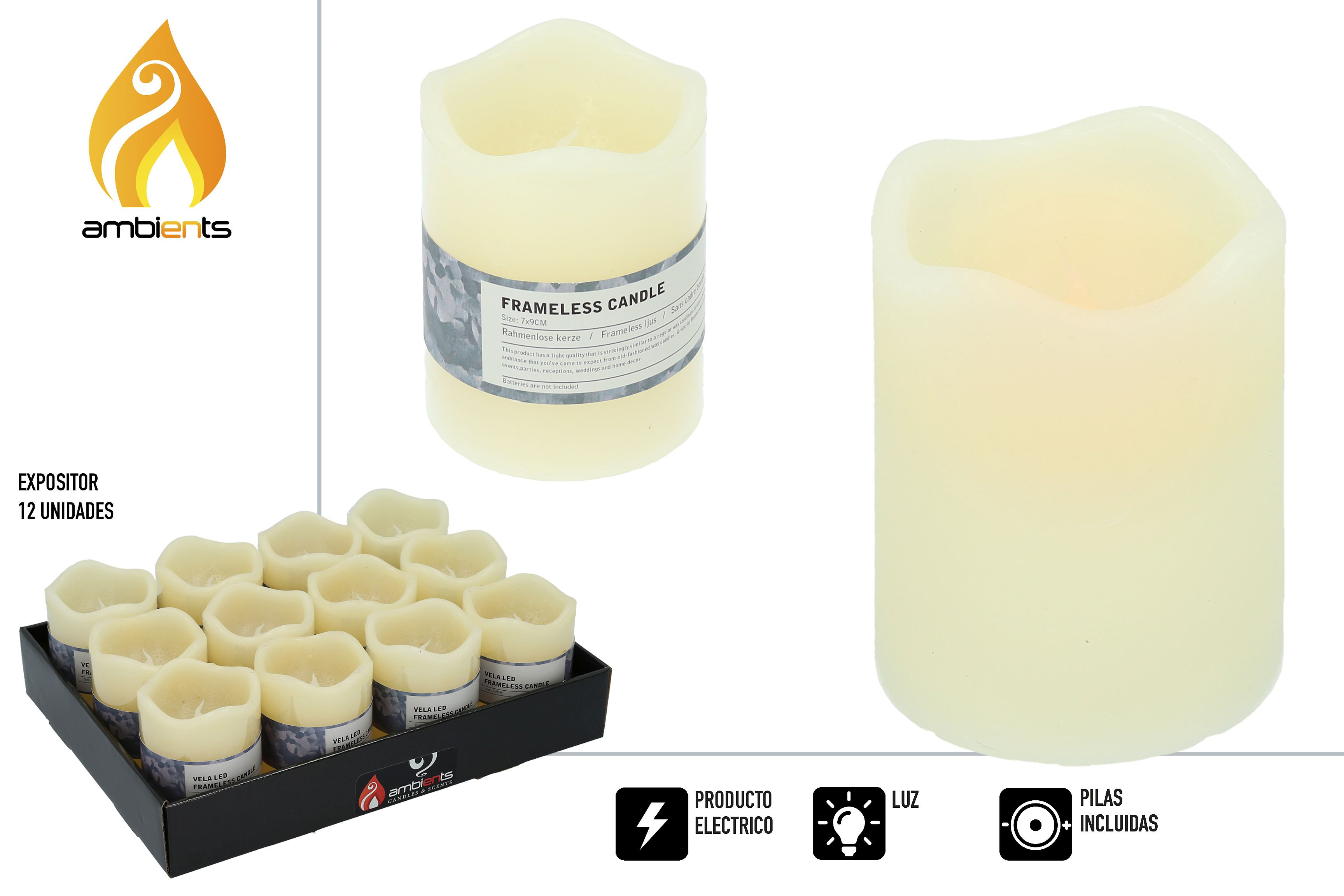 Candles with LED Light, Ideal for decorating any room of the home, Batteries Included. Original/Modern 70x70x90 mm-Hogarymas-