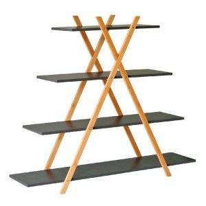 Estantería de bambuúcon baldas en color grises 120x33x102 cm