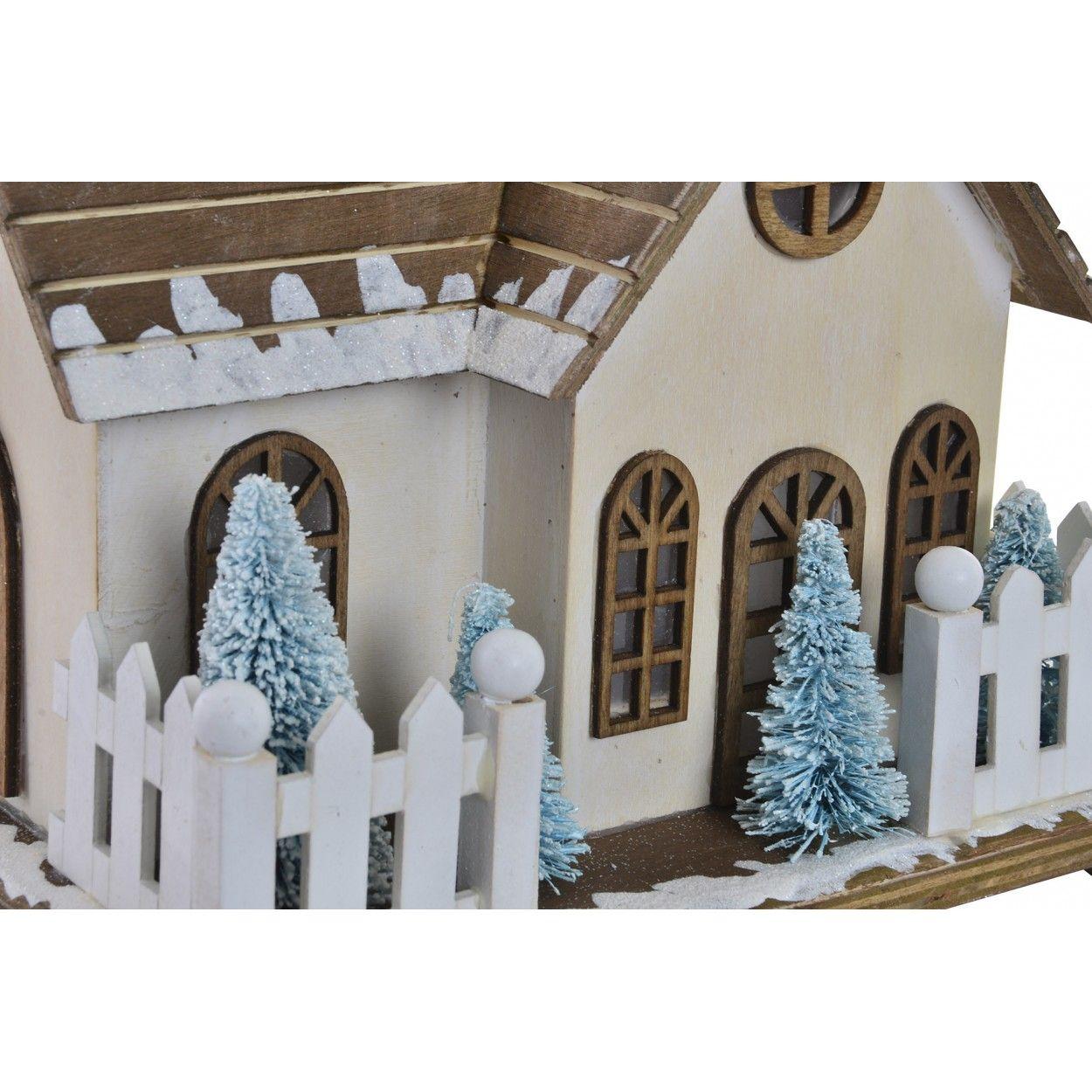 Casa de madera navidad con luces led decoraci n navide a for Decoracion navidena original