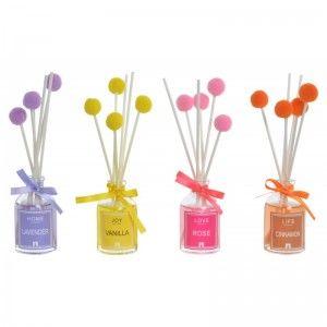 Difusor de Aromas/Fragancias de 30ml, realizado de Cristal y Perfume con Pompones. Diseño Cute, con estilo Moderno - Hogar y Más