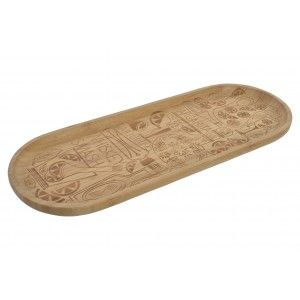 Bamboo tray with Natural finish and Design of Cocktails. Original/Modern 44,5X16,7X2 cm-Hogarymas-