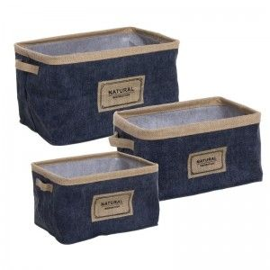 Basket jute color blue set 3 units, the Home, and More