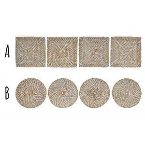 Posavasos realizados en Fibra Trenzada con Soporte, de color Blanco y Beis. Diseño Tropical, con estilo Vintage - Hogar y Más