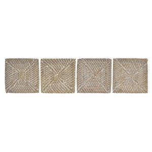 Coasters made in Braided Fibre with Bracket, color White and Beige. Tropical design, with Vintage style - Home and More