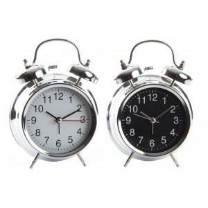Alarm clock Analog, made in Metal, with a Bell. Vintage design, Retro style (12cm X 17cm X 6cm) - Home and More
