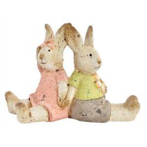 Figura de Conejitos dados de la mano, Realizado en Loza. Vintagel/Alegre 13X6,7X9,2 cm.-Hogarymas-