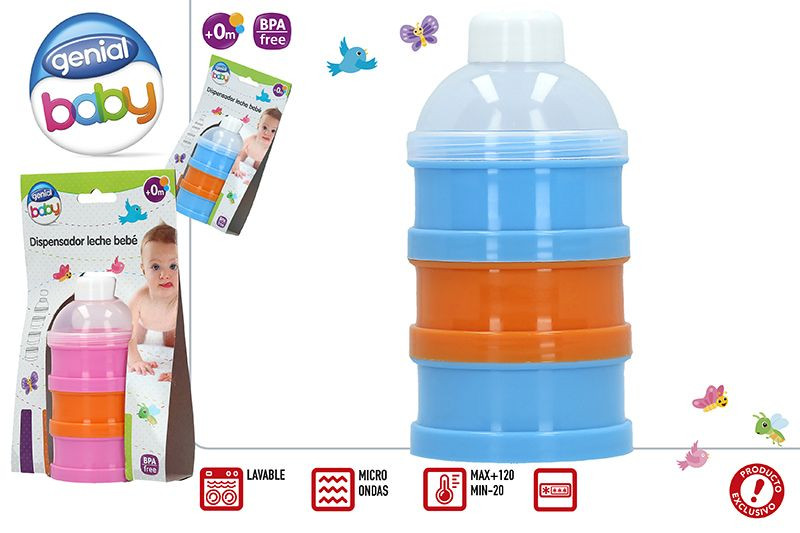 Dispenser of Milk for Babies, with three compartments, Suitable for Microwave. Ergonomic design and style Modern - Home and More