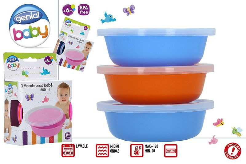 Lunch box of 200ML for Babies, Pack of 3. Microwaveable and Washable. Ergonomic design with Original style - Home and More