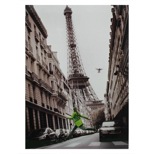Cuadro madera Paris Torre Eiffel mujer