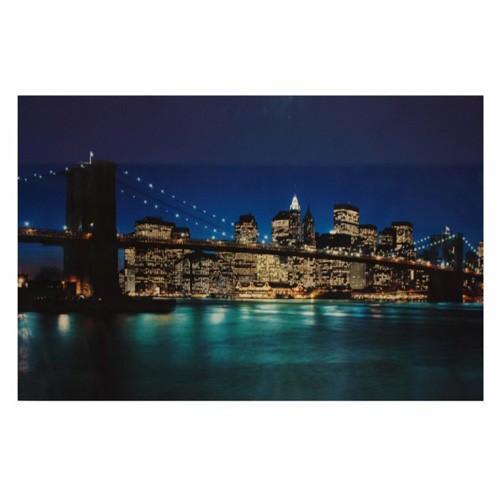 Cuadro en madera de New York anocheciendo 04571