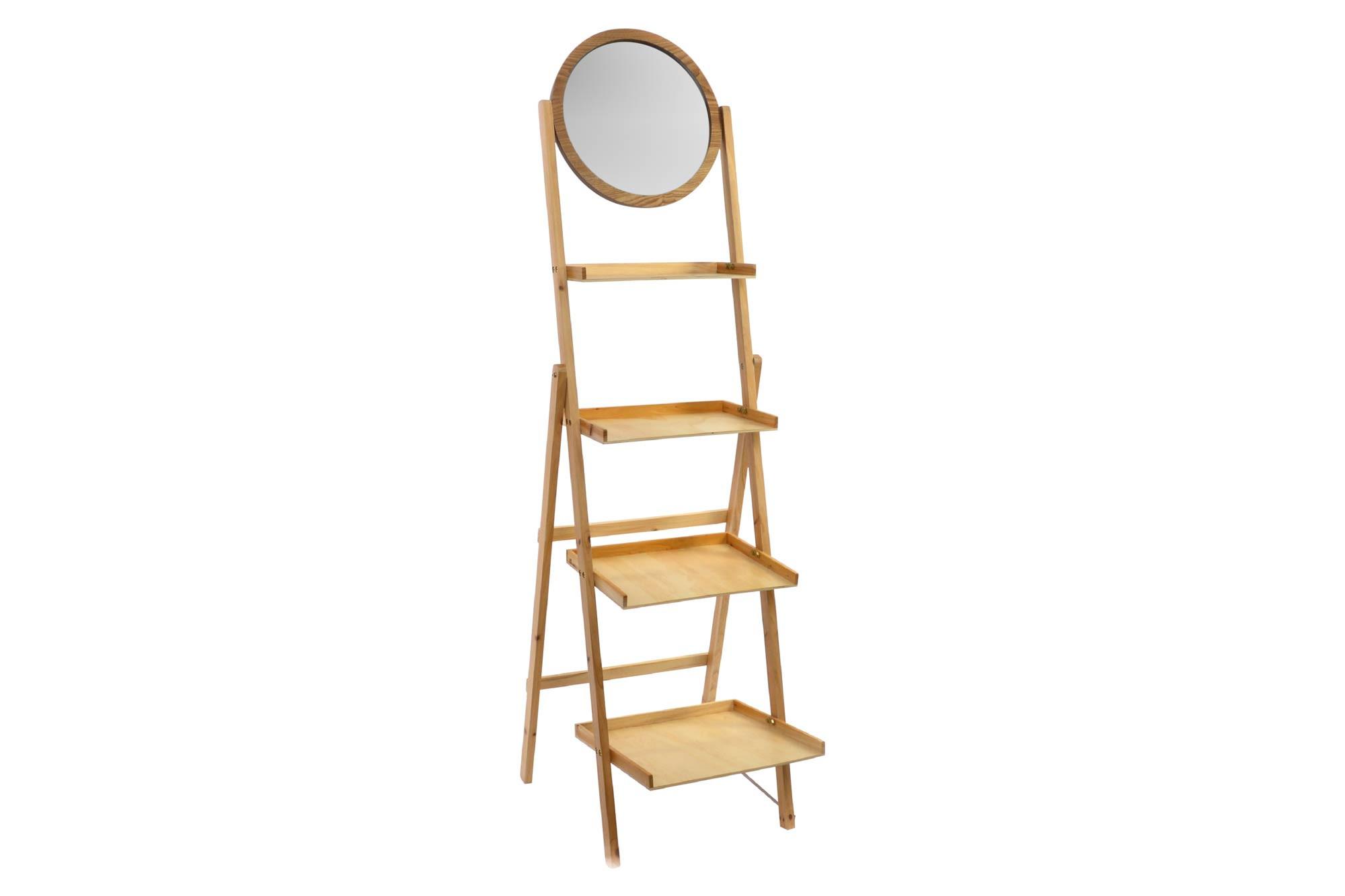 Estantería con Espejo de 4 Estantes, realizada en Madera Natural. Diseño Ergonómico/Bassic (175cm X 47,5cm X 38cm) - Hogar y Más
