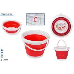 Cubo Plegable con Capacidad de 5L, de color Rojo y Blanco, con Asa. Diseño Ergonómico, estilo Simple (26,5cm X 5cm) -Hogar y Más
