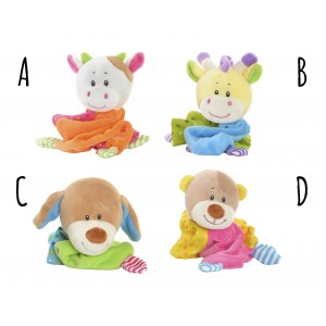 Doudou animals for babies, Stuffed toys with Blanket in 4 Models to choose from. Original/Child 10X8X20 cm