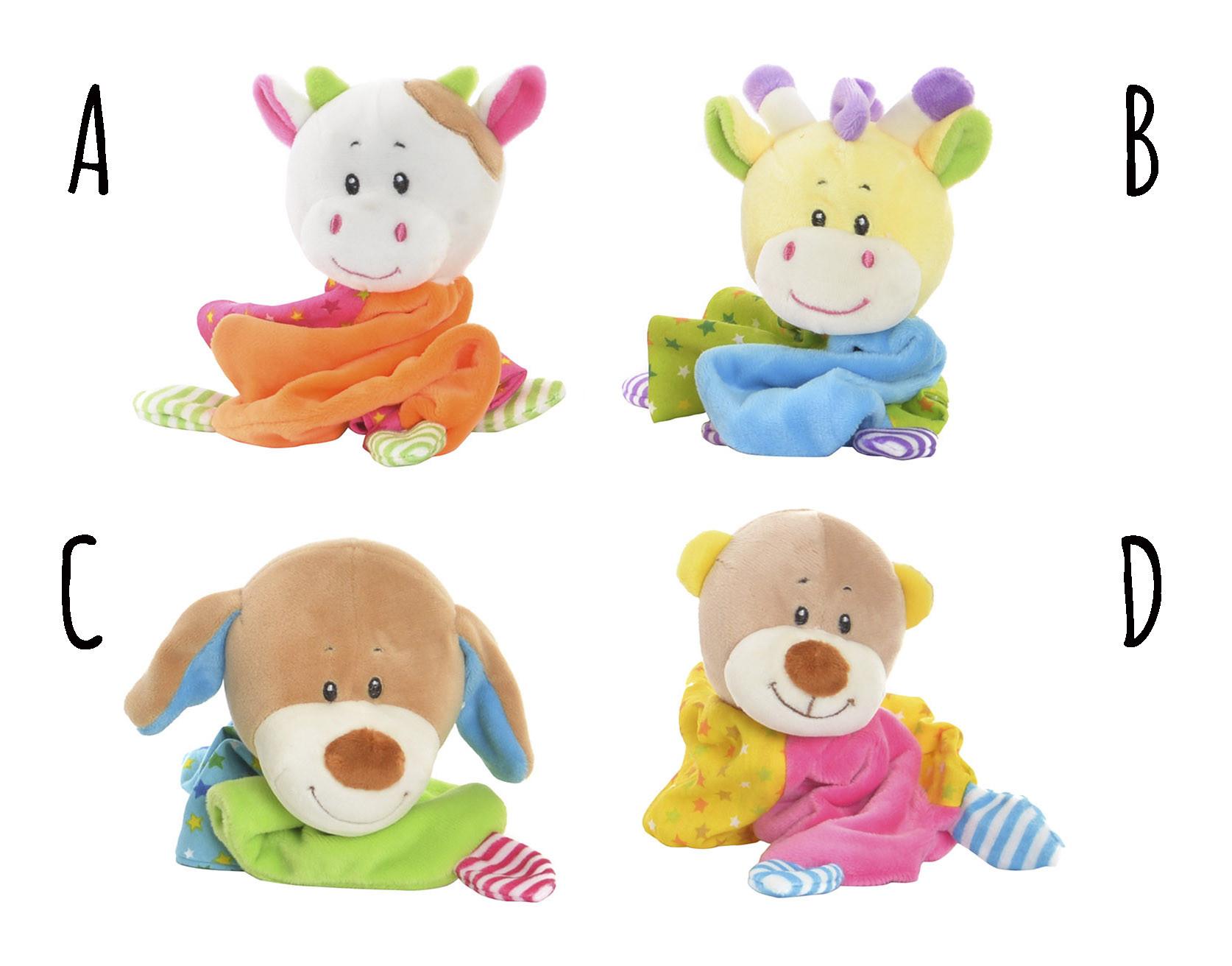 Doudou de animales para bebés, Peluche con Mantita en 4 Modelos a elegir. Original/Infantil 10X8X20 cm