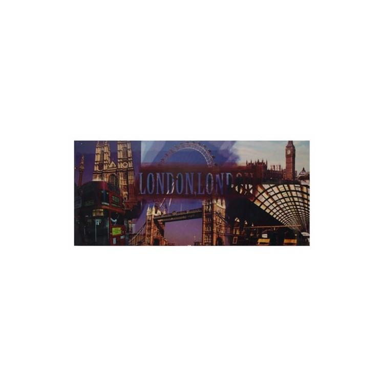 Cuadro de Londres en Lienzo de Madera, para Salón/Recibidor. Diseño Abstracto y estilo Moderno (100 x 45 cm) - Hogar y Más