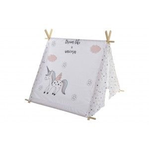 Tipi White, made of Cotton and Wood, with Drawings. Design Baby/Kids, stylish Fantasy (110cm X 106cm) - Home and More