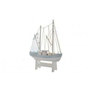 Figure of Sailing ship, made of Wood, White and Blue, with distressed finish. Design Marine/Vintage - Home and More