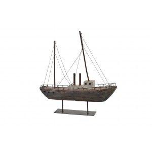 Barco Decorativo realizado en Madera, con acabado envejecido. Diseño Marino, estilo Vintage 37,5cm X 39,5cm X 8,5cm -Hogar y Más