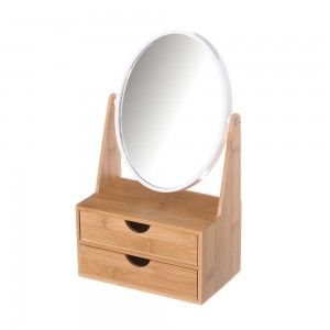 Mirror Double Increase with Drawers, made in Bamboo, to the Bathroom. Nordic design, with Minimalist style - Home and More