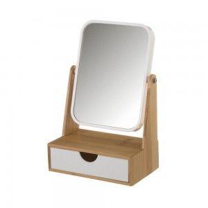 Espejo con Cajón, realizado en Bambú, de color Blanco y Beige, para el Baño. Diseño Nórdico, con estilo Moderno - Hogar y Más