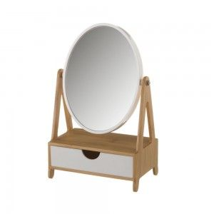Mirror with Drawer, made in Bamboo, White and Beige, to the Bathroom. Nordic design, with Elegant style - Home and More