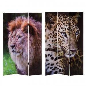 Biombo de Madera y Tela 3 Paneles. Diseño de Animales y Estilo Fotoimpresión, Ideal para decoración 120,60x2,50x180 cm