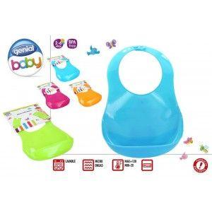 Babero Impermeable para Bebé, con Cuello ajustable y Bolsillo atrapacomida. Diseño Baby, con estilo Moderno - Hogar y Más