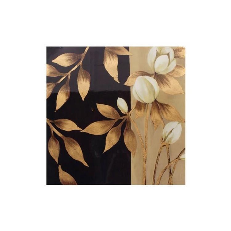 Lienzo de madera Dorado y negro con diseño de Flor, Ideal para Salón/Dormitorio. Elegante/Deluxe (60 x 60 cm).-Hogarymas-