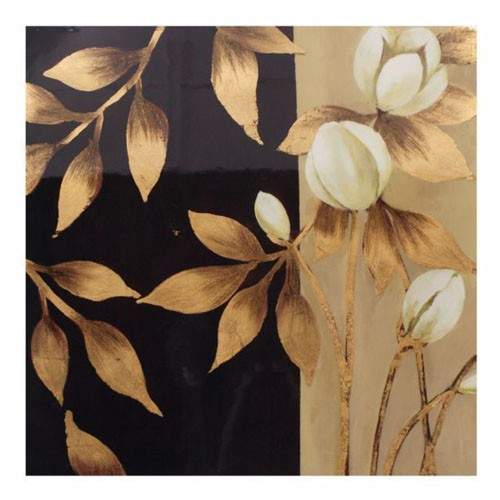 Cuadro madera de flor color negro y dorado