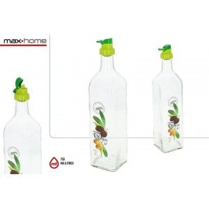Oil Glass 750ml, Refillable, for Kitchen, Clear, with drawings of Olive. Modern design/Original - Home and More
