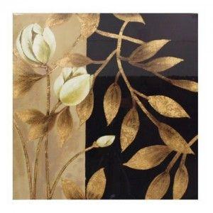 Cuadro madera de flor dorado y negro