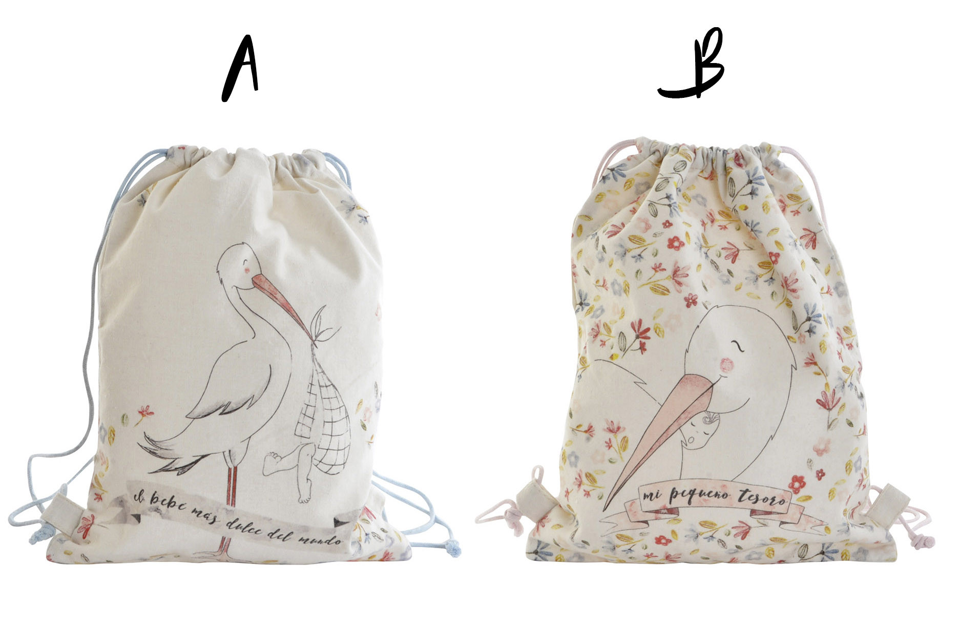 Backpack/Sack of Ropes in Cotton, 2 Models to choose from. Design of Storks and Sentence Motivating/Original 28X36 cm-Hogarymas-